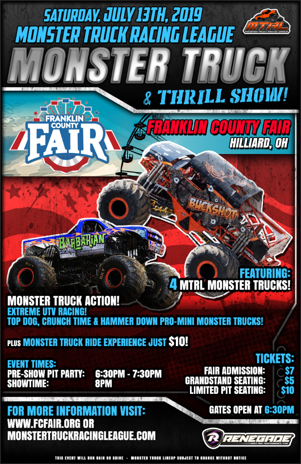 Monster Trucks For Sale >> MTRL Monster Truck Thrill Show | Franklin County ...